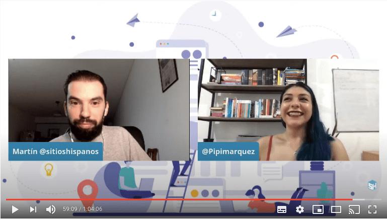 Captura pantalla camara de Silvia Marquez y Martín Di Luzio en vivo