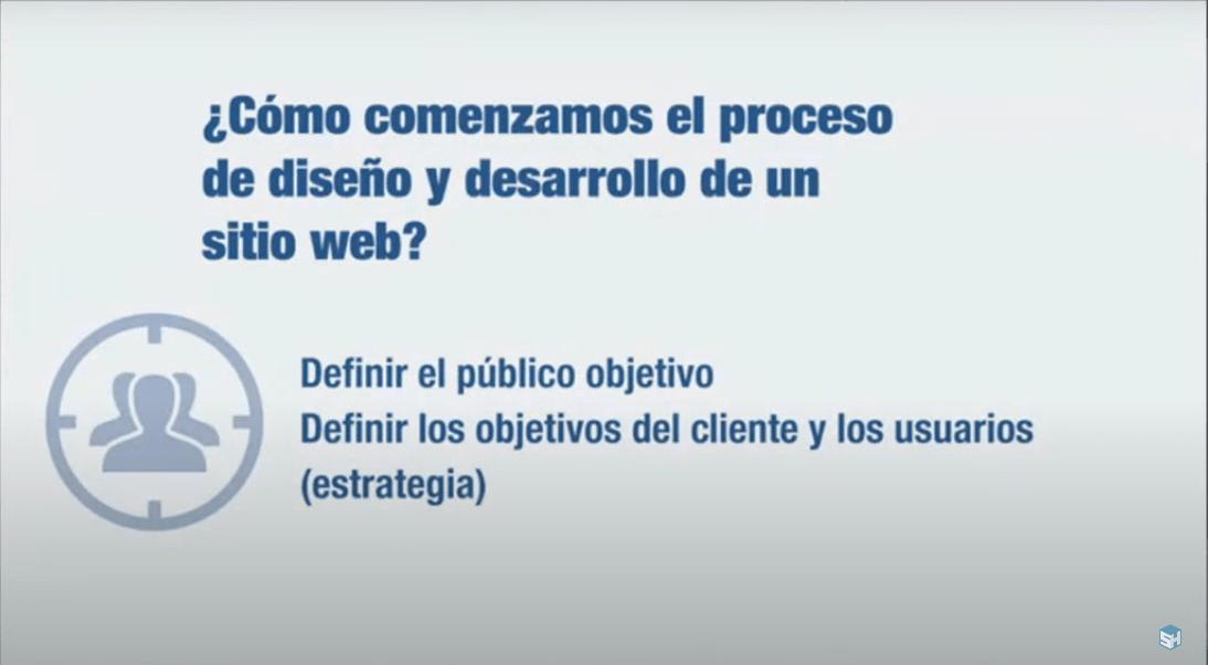 Diapositiva con disparador que indica definir al público objetivo.