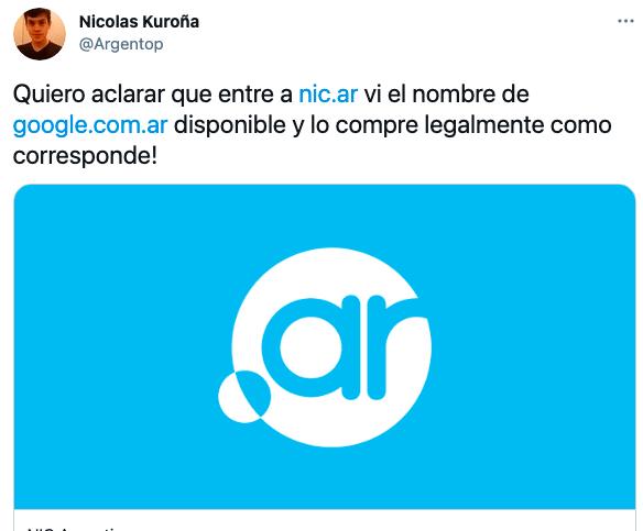 Captura del twitt de Nicolas donde dice que entro a Nic.ar y vio el nombre disponible y lo compró legalmente.
