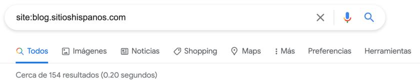 Resultado de una búsqueda en google utilizando la sintaxis site: