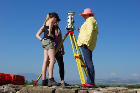 Students working with the Total Station
