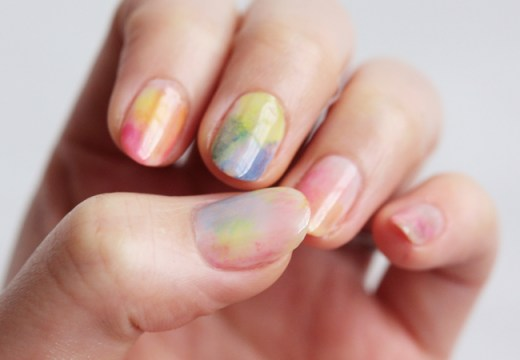 diy watercolor nails