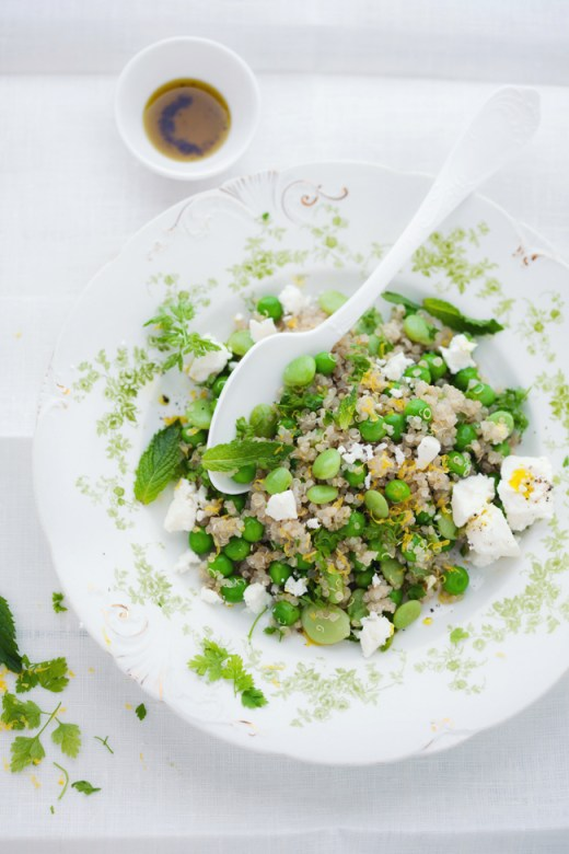 quinoa fava bean pea lemon salad