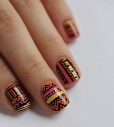 tribal nails orange yellow pink