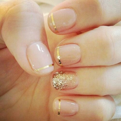 gold glitter french nails