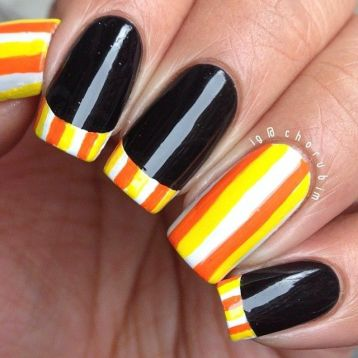 halloween nail art candy corn