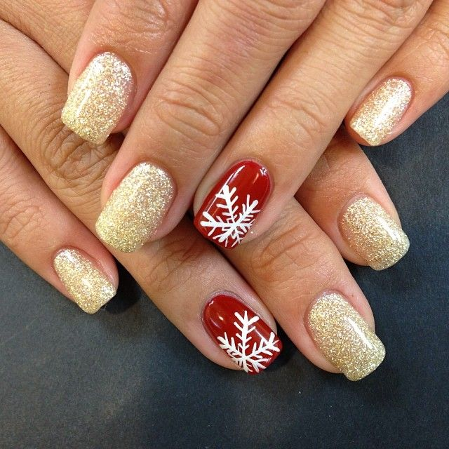 Gold Glitter Christmas Nail Art Red And Green Tutorial
