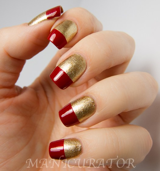 christmas nail art red gold french tip