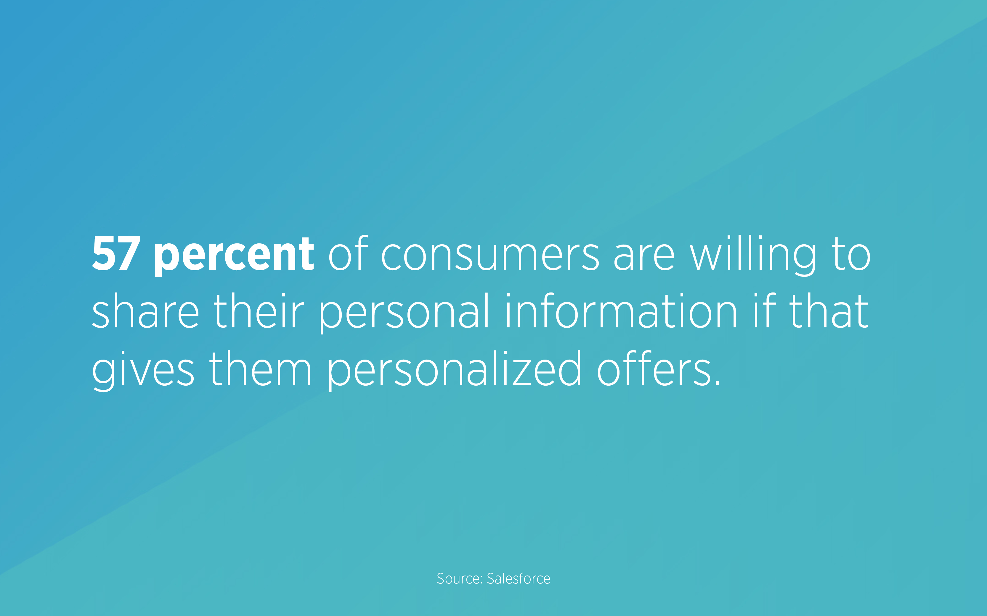 57 percent of consumers are willing to share their personal information if that gives them personalized offers.
