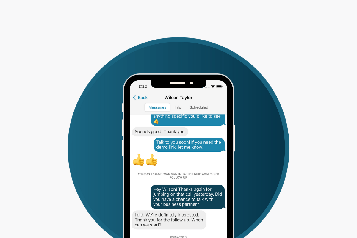 A smartphone showing a conversation within the Skipio app.