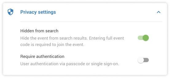 Privacy settings Slido