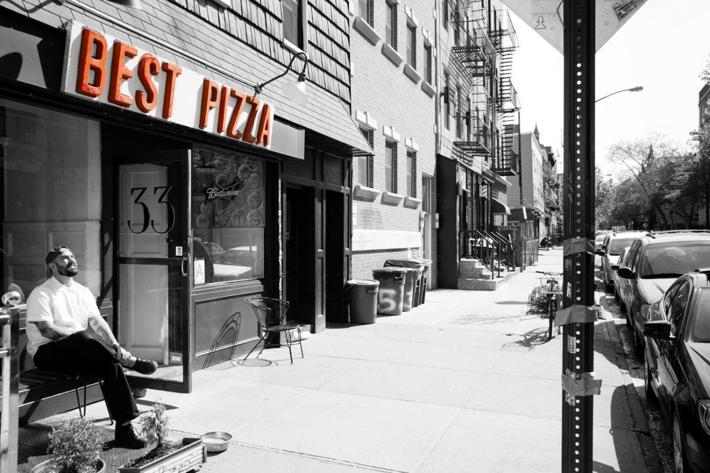 Frank Pinello sitting outside Best Pizza