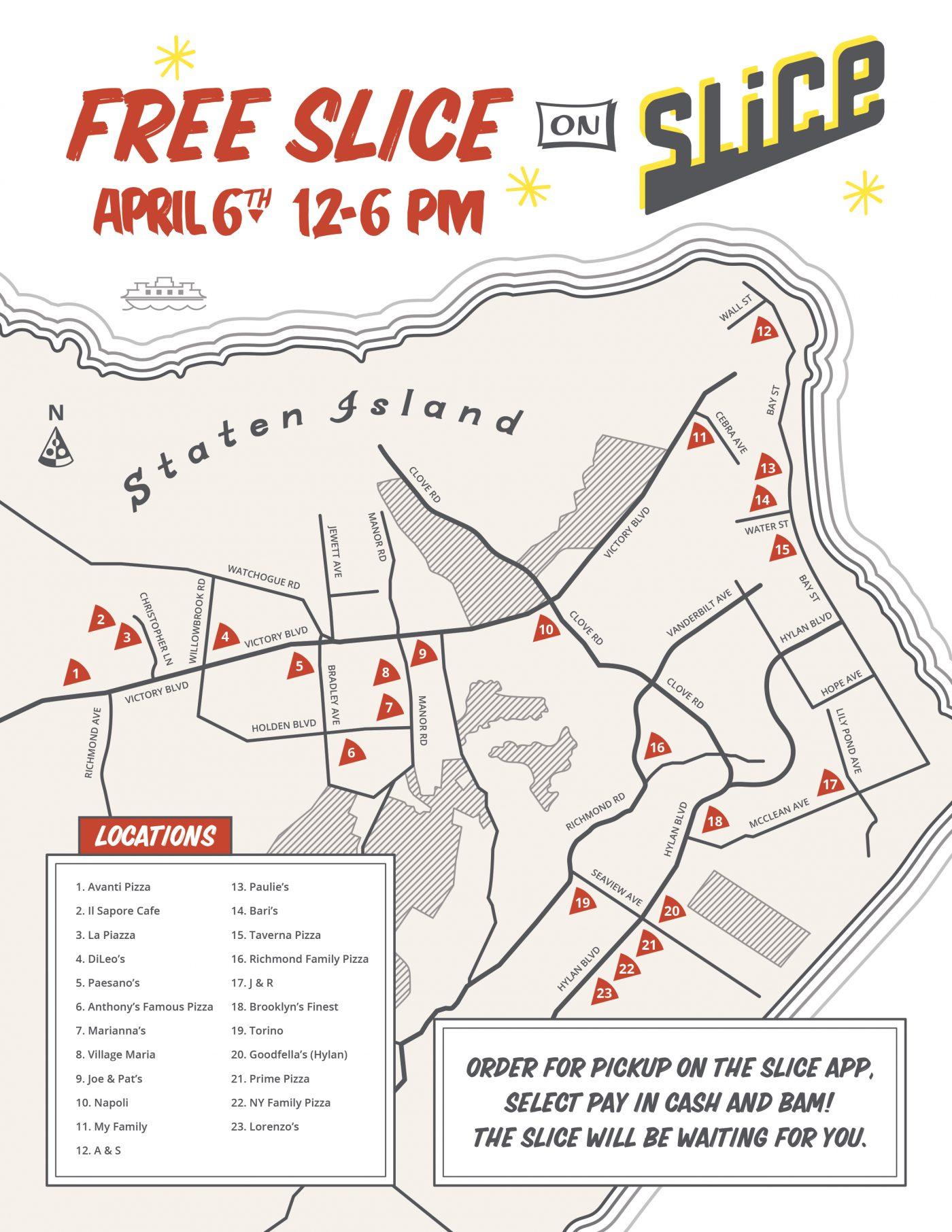 Map of Slice on Slice pizzerias in Staten Island
