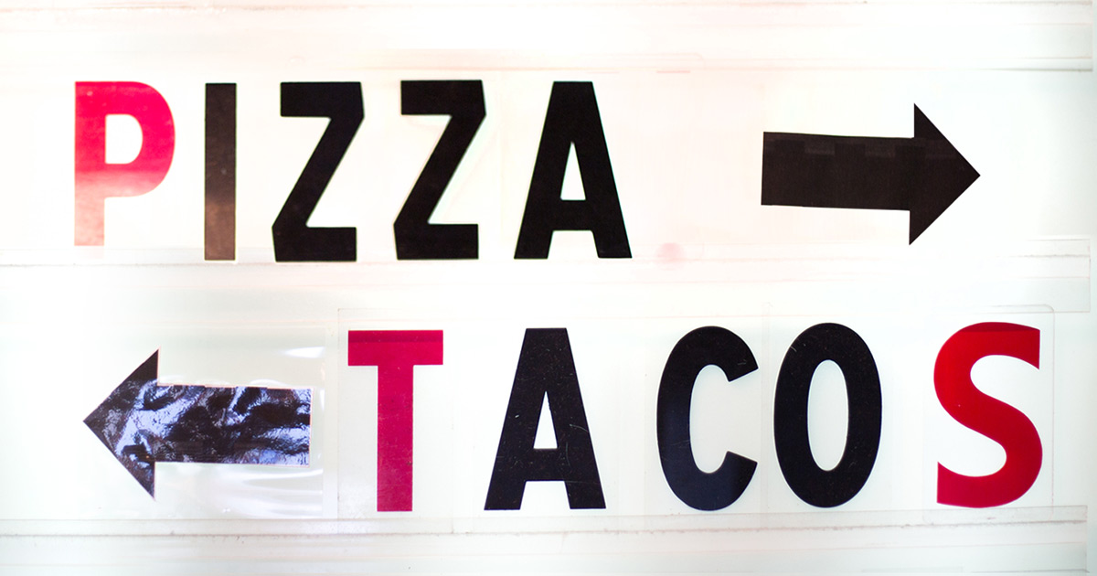 Pizza Tacos Sign