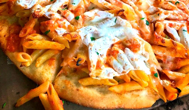 Ziti pizza pie cheese