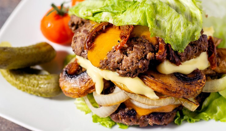 Lettuce wrap hamburger