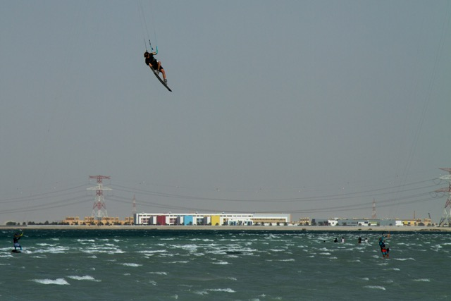 Sam Light kitboarding in Dubai on the Slingshot Refraction.