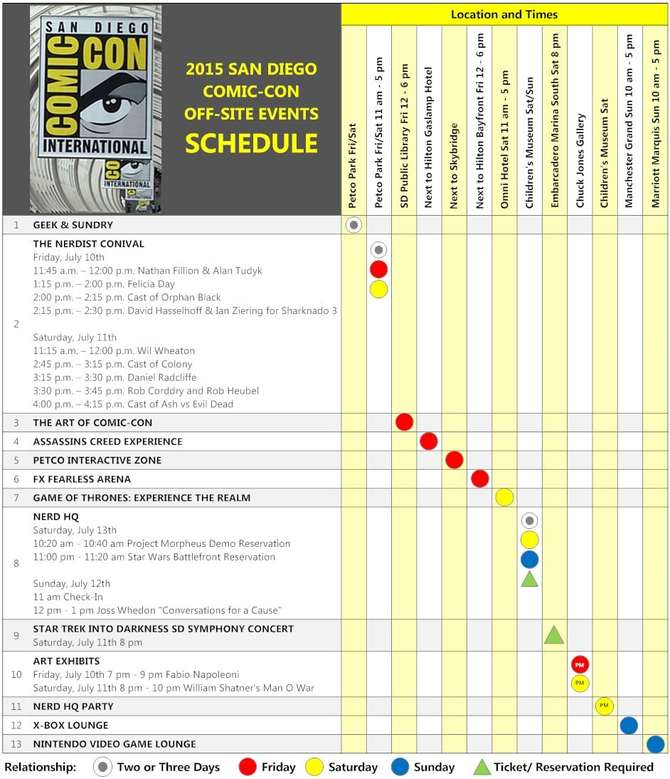click to download the sdcc 2015 off site schedule matrix pdf with live links - Smartdraw Pdf