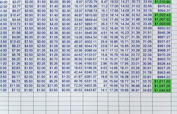 Spreadsheets versus Charts