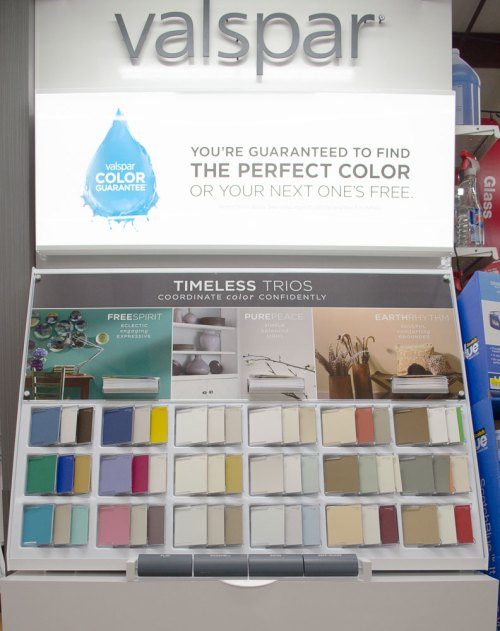 Valspar color trio palettes at Smith & Edwards