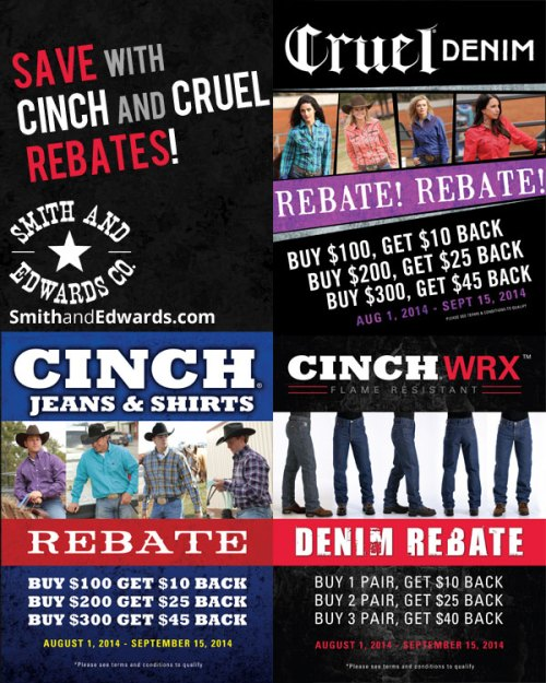 Cinch and Cruel clothing rebates for 2014