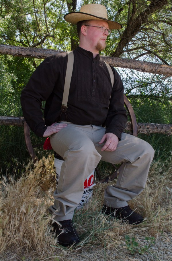 Sitting in the Utah shade, this is a great men's outfit - and a bucket seat lets you stop for rest!