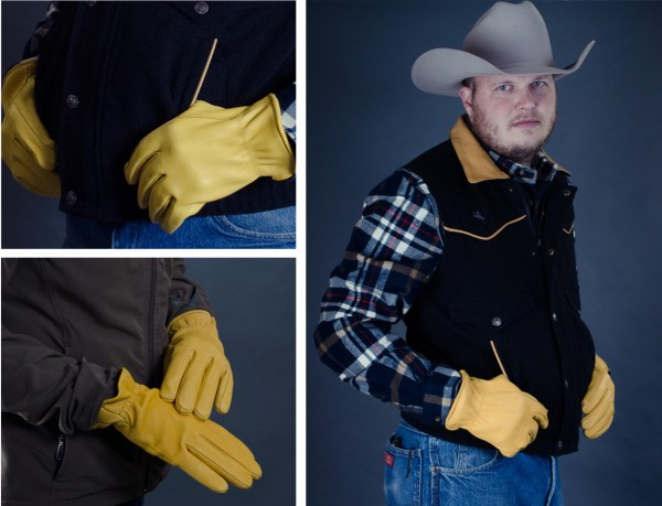 Kevin modeling our Yellowstone elkskin and deerskin gloves.