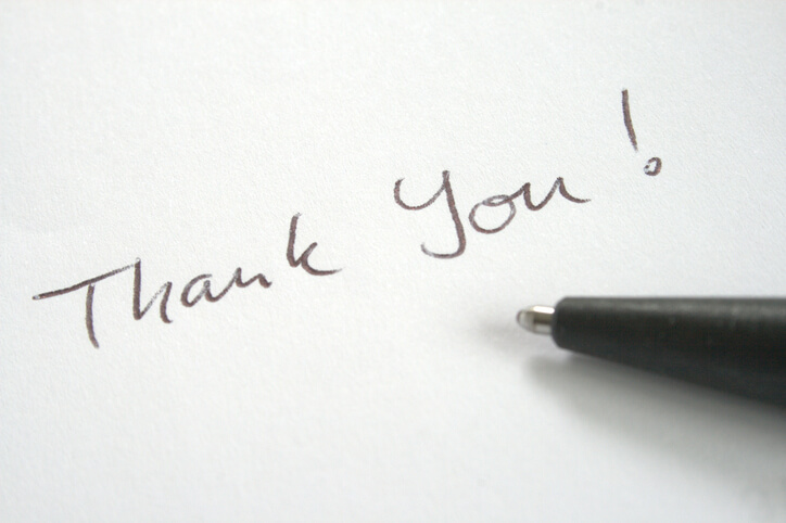 Thank You note written with ball pen