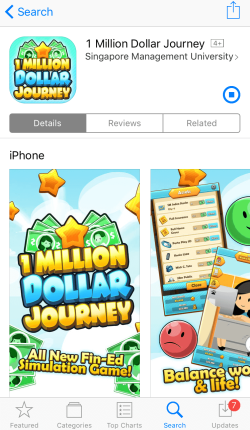 Screenshots of the 'One Million Dollar Journey' app