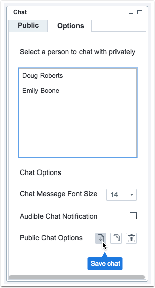 picture showing the ability to download the chat to txt file in canvas conference