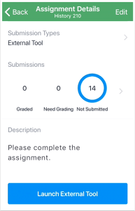 picture that shows the ability to open external tools in the student app