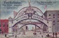 Commemorative Elks Arch postcard, looking east on Main Street, July 1908