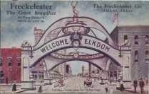 Commemorative Elks Arch postcard, looking east on Main Street, July 1908