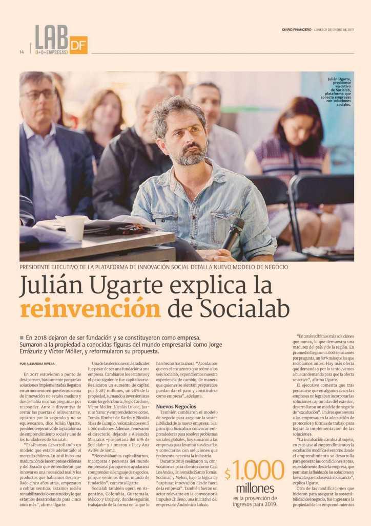 la reinvencion de Socialan en diario financiero chile