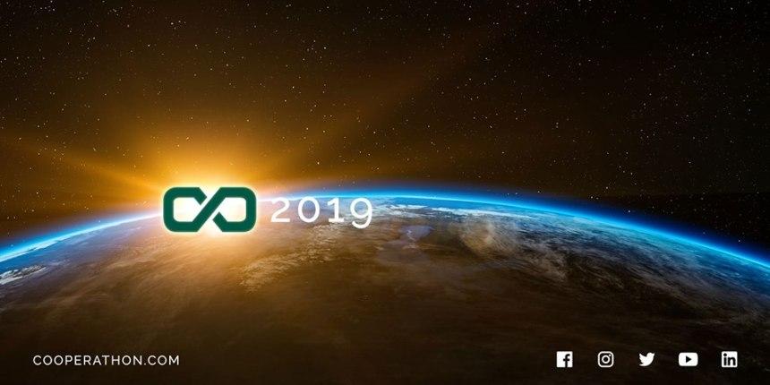 Desafío Cooperathon 2019, panorámica del planeta tierra y el logo del desafío, banner oficial de las convocatorias Cooperathon