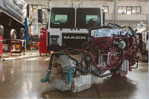 Diesel Engine Replaced by Wright speeds Electric Drive on a Mack LR Refuse Truck