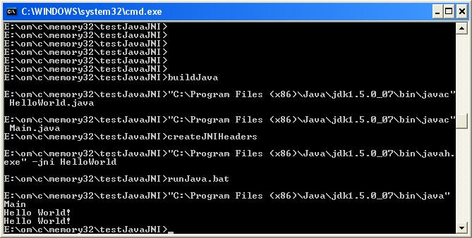 Command prompt building and testing JNI interface