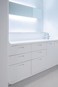 Solid surface hospital cabinets in Glacier White Corian®