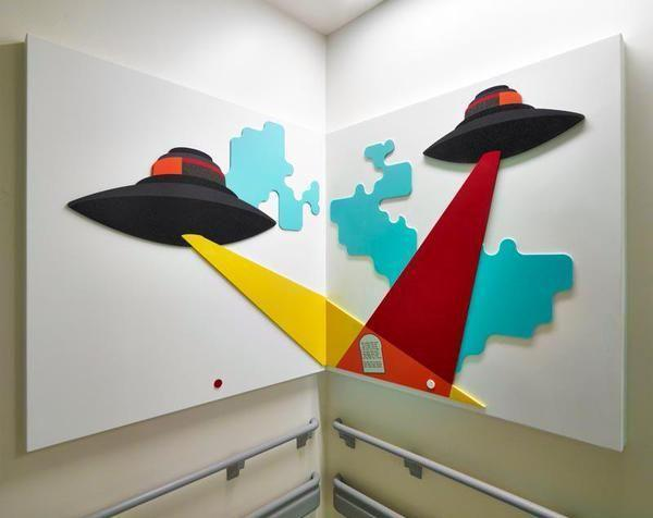 Mark Hill's work in Corian provides a colorful mural at the Glasgow Children's Hospital.