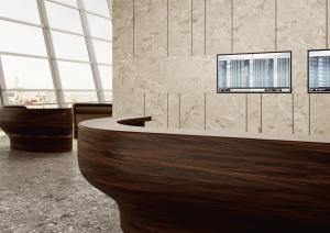 Corian® Solid Surface Reception Desk in Mahogany Nuwood