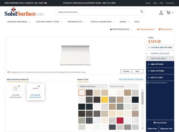 Image of Custom Vanity Top Designer program on SolidSurface.com