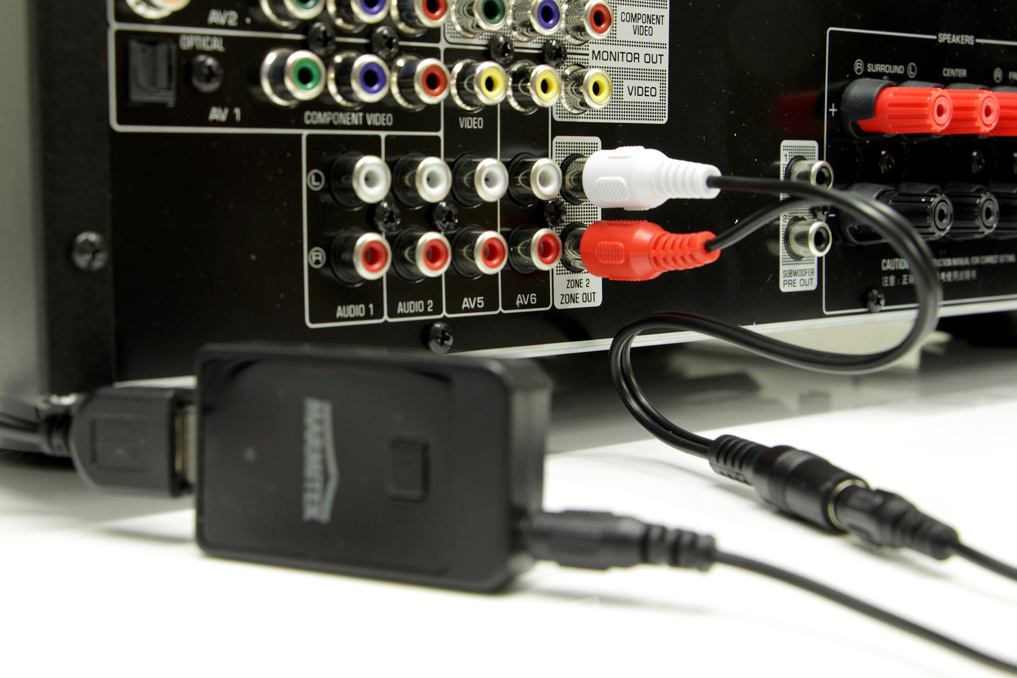 The Marmitek BoomBoom 50 Bluetooth Transmitter Connected To Zone 2 Output Of A Yamaha RX V679 AV Receiver