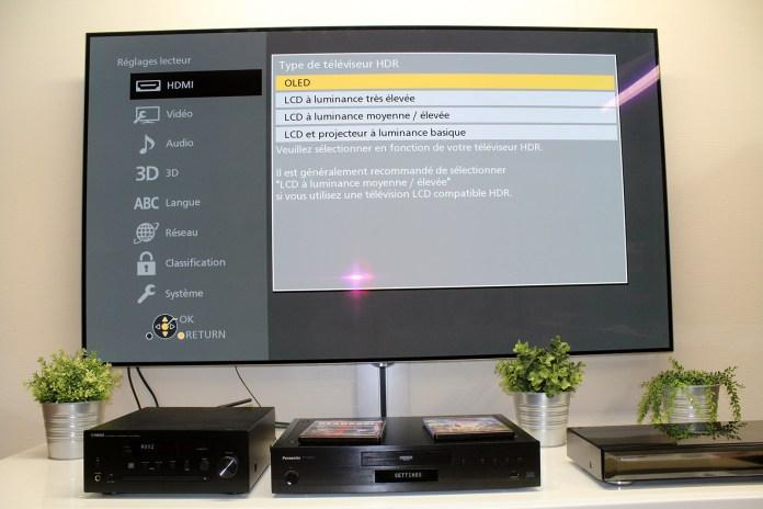 Panasonic DP-UB9000 : menu de réglage du type de TV