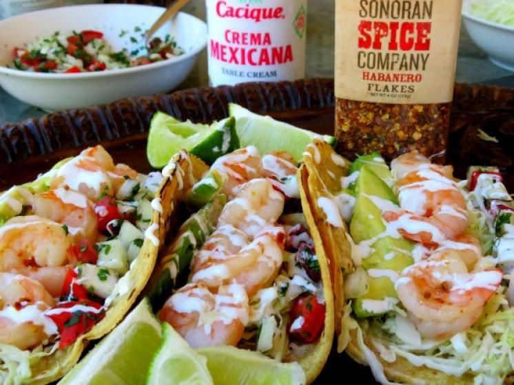 Shrimp Tacos with Sonoran Spice Habanero Flakes