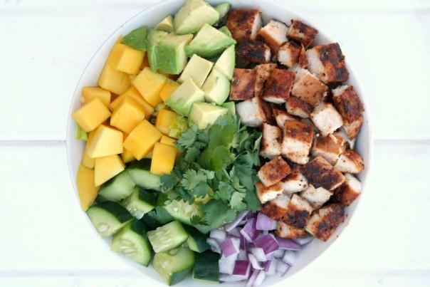 Chopped veggies and chicken