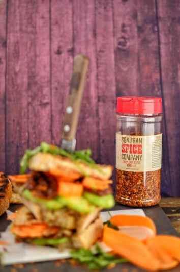 Baba Ganoush Sandwich with Sonoran Spice Bird's Eye Pepper Flakes