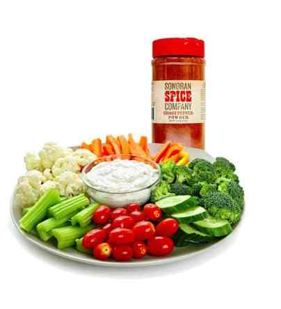 Spicy Ghost Pepper Ranch and veggie tray