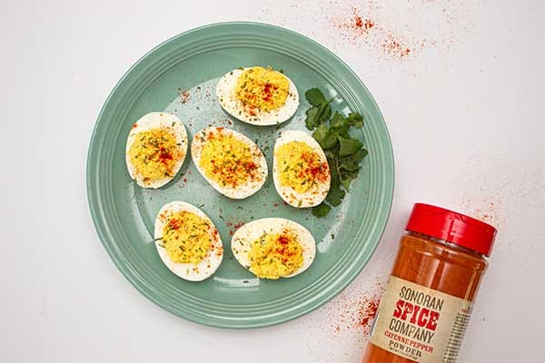 Plate of Spicy Cayenne Deviled Eggs