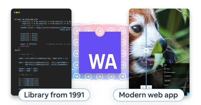artwork depicting the transformation of the MozJPEG library thanks to WebAssembly