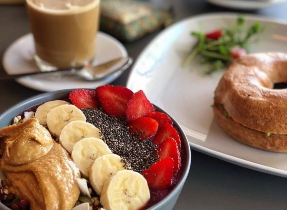 Plant-Based Smoothie Bowl & Bagel at Eat, Drink, Raw